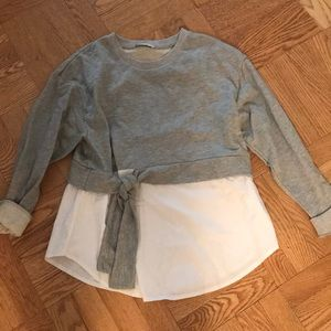 Zara sweatshirt top with white bottom